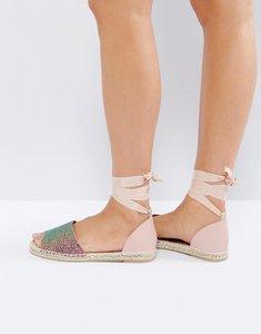 Read more about London rebel tie ankle glitter espadrille sandal - mermaid glitt nude