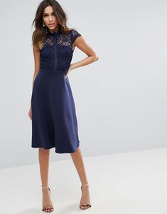 Read more about Asos high neck midi skater dress with lace top - navy