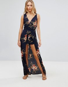 Read more about Parisian floral maxi dress with shorts - navy