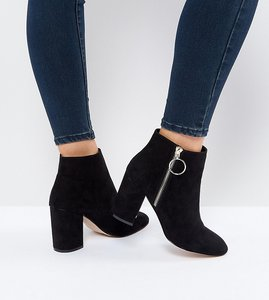 Read more about Faith wide fit weryn ring detail black ankle boots - black