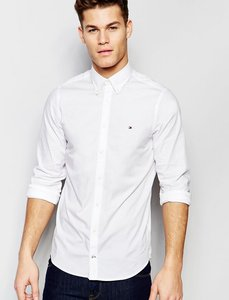 Read more about Tommy hilfiger poplin shirt with stretch in slim fit in white - white