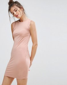Read more about Asos sleeveless mini vest dress with twist arm detail - nude