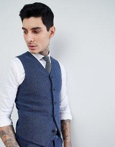Read more about Asos design wedding super skinny suit waistcoat in petrol blue herringbone - blue