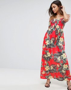 Read more about Asos off shoulder maxi sundress with shirring in hawaiian print - hawaiian print