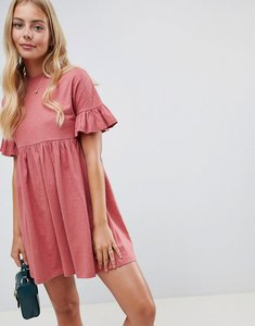 Read more about Asos design cotton slubby frill sleeve smock dress - rose