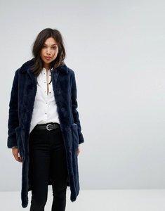 Read more about Parka london super soft faux fur coat - navy