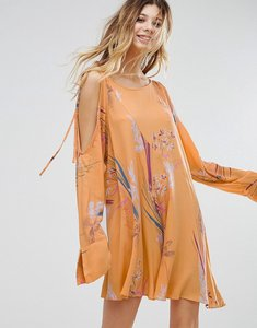 Read more about Free people clear skies cold shoulder printed dress - orange