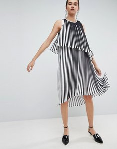 Read more about Asos white midi dress with layered pleat - multi