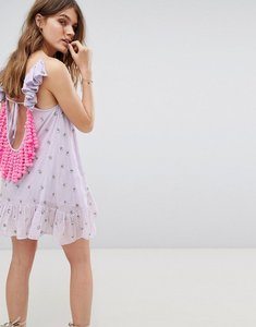 Read more about Sundress frill jasmine detail mini dress - bleuet jas neon pink