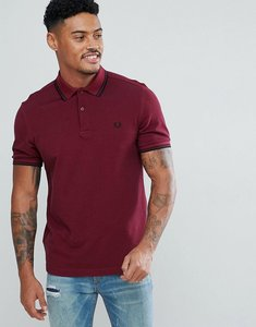 Read more about Fred perry slim fit twin tipped polo shirt in burgundy - f23