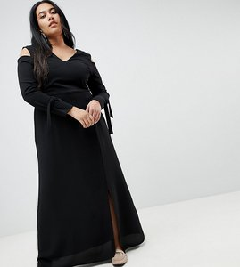 Read more about Lost ink plus maxi dress with cold shoulder - black