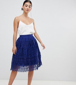 Read more about Asos petite lace midi prom skirt - navy