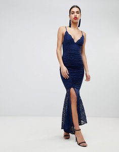Read more about Asos design deep plunge lace bodycon maxi dress with fishtail - navy
