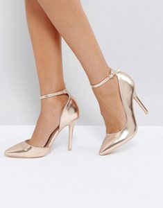 Read more about Glamorous rose gold ankle strap court shoes - rose gold