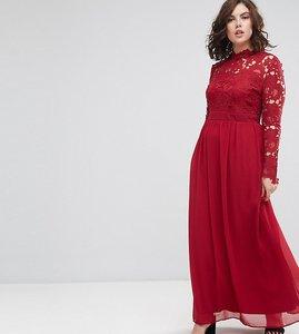 Read more about Club l plus 3 4 sleeve high neck crochet detailed maxi chiffon dress - deep berry