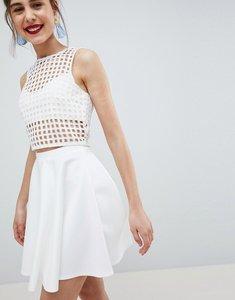 Read more about Asos design full skater mini skirt in scuba - white