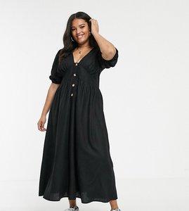 Read more about Asos design curve button through linen maxi dress with cross back