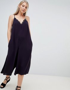 Read more about French connection esther drape jumpsuit with lace trim - utility blue