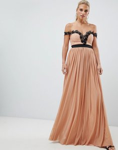 Read more about Rare london lace bardot maxi dress - mink
