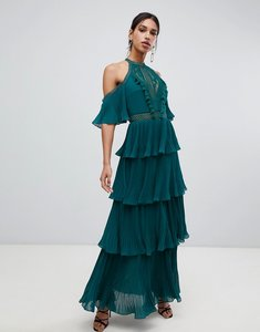 Read more about True decadence cold shoulder tiered maxi dress with tassel detail in forest green - forest green