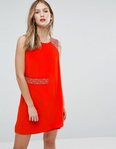 Read more about French connection cecile drape embellished trim dress - masai red
