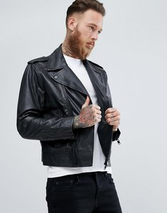 Read more about Mango man leather biker jacket - black