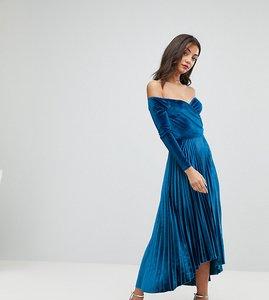 Read more about Asos tall velvet wrap bardot pleated midi dress - navy