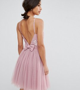 Read more about Little mistress petite embellished top mini tulle prom dress with bow back detail - mauve