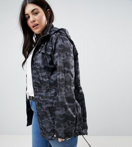Read more about Brave soul plus oxford lightweight jacket in camo - charcoal