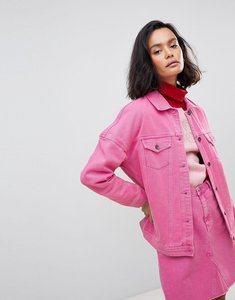 Read more about Vero moda oversized coloured denim jacket - opera mauve