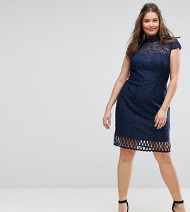 Read more about Chi chi london plus cap sleeve lace pencil dress in cutwork lace and high neck - navy
