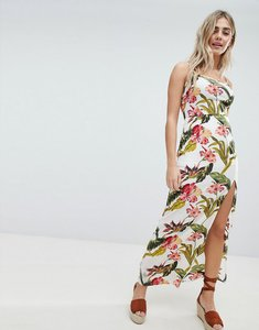 Read more about Missguided floral split detail maxi dress - white