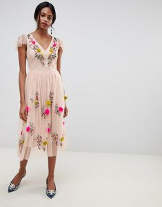 Read more about Oasis midi dress with floral embroidery in pink - multi