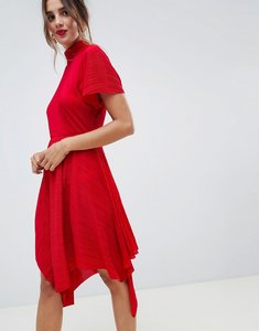 Read more about Asos design plisse midi dress with high neck and hanky hem - red