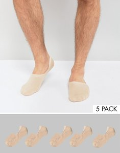 Read more about Asos invisible socks in nude 5 pack - beige