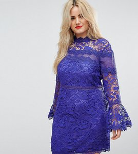 Read more about Asos curve lace long sleeve mini dress with fluted sleeves - blue