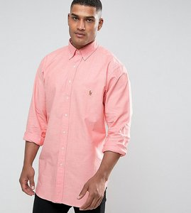Read more about Polo ralph lauren tall stretch oxford shirt red melange - orange white