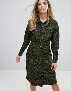 Read more about Brave soul lexis button through midi dress in camo print - camo print
