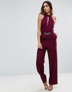 Read more about Little mistress embellished jumpsuit with keyhole embellished waist detail - maroon