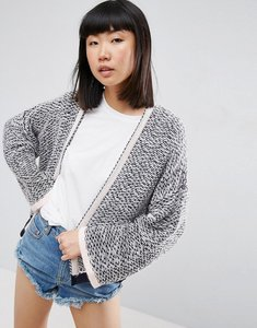 Read more about Asos crop cardigan in textured stitch and wide sleeves - navy