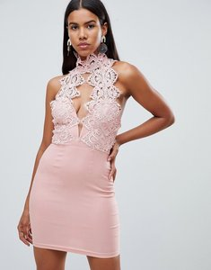 Read more about Rare london high neck plunge lace mini dress - blush pink