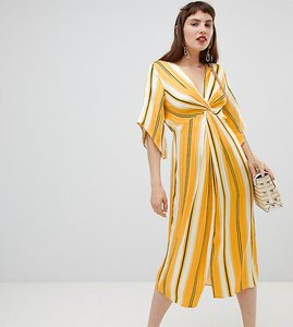 Read more about River island smock midi dress with knot detail in stripe