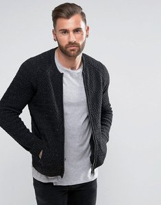 Read more about Asos knitted textured bomber jacket in black - black