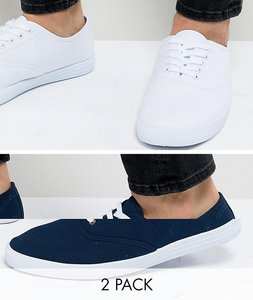 Read more about Asos design plimsolls 2 pack in white and navy save - multi
