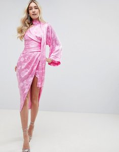 Read more about Asos design kimono sleeve sash midi dress in soft jacquard - pink