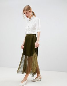 Read more about Asos pleated midaxi skirt with sheer detail - green