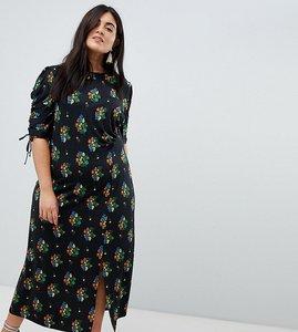 Read more about Asos design curve city maxi tea dress with split in black floral - multi