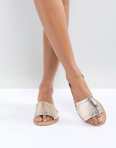 Read more about Asos jovena leather studded summer shoes - pale gold