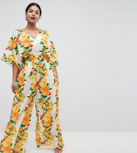 Read more about Asos design curve kimono jumpsuit with wide leg in fruit print - yellow floral