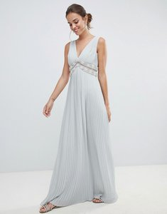 Read more about Asos design pleated maxi dress with embellished trim - pale grey